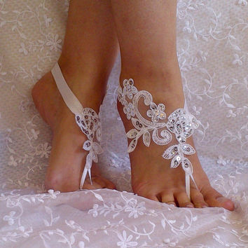 Free Ship lace sandals white or ivory lace anklet Beach wedding