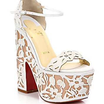 Christian Louboutin - Houghton Lace-Effect Leather Platform Sandals - Saks Fifth Avenue Mobile