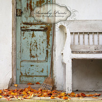 5ft x 5ft Vinyl Photography Backdrop/Grunge Fall Front Porch/Bench, Photo Prop - Other