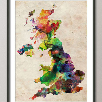 Great Britain UK Watercolor Map Art Print 18x24 inch by artPause