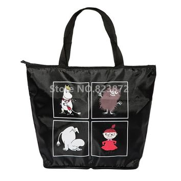 Moomin Little My Folding Reusable Shopping Bag Foldable Large Beach Grocery Bags Zipper Black Cartoon Tote Handbag Eco Friendly