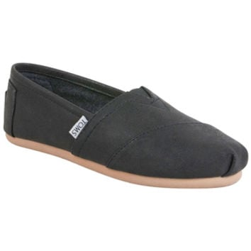 TOMS Classic Synthetic Leather Black Metallic Black Sneaker