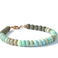 Green Agate & Lava Rock Aromatherapy Diffuser Bracelet, Essential Oil Jewelry