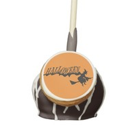 Halloween Witch on Orange Background Cake Pops