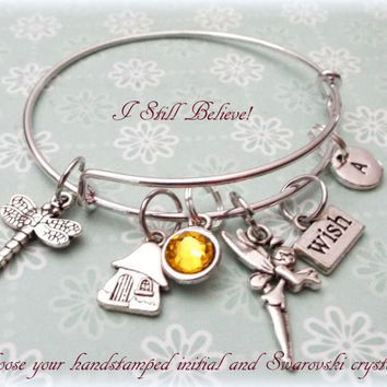 Fairy Charm Bracelet, Personalized Gift Ideas, Gift Ideas for Her, Best Friend Gift, Nature Inspired Jewelry, Silver Bracelet, Fairy Theme