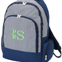 backpack with navy pinstripe design and monogram