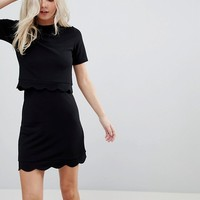 ASOS PETITE Scalloped Hem Mini Dress With Crop Top at asos.com
