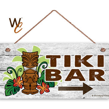 "TIKI BAR Sign, Beach Weathered Wood, Weatherproof, 5"" x 10"" Sign, Hawaiin Party Sign, Beach House, Summer Days, Cocktails, Made To Order"