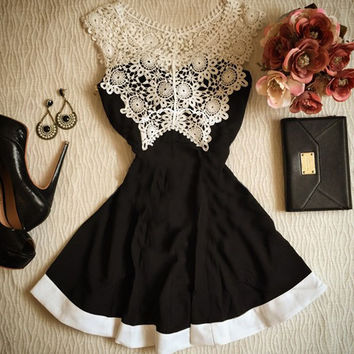 White Lace Solid Black Dress