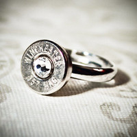 Gunpowder and Glitz Simplistic Nickel Plated Bullet Ring