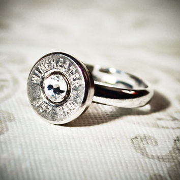 Simplistic Bullet Ring -Gunpowder and Glitz- Nickel and Crystal