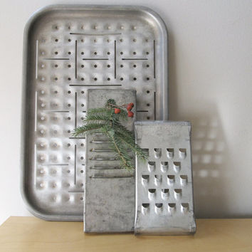 vintage broiler pan grater industrial decor inspiration board