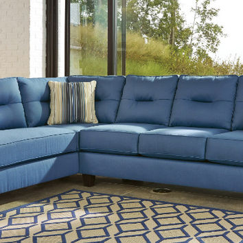 Ashley Furniture 99603-16-67 2 pc Kirwin nuvella blue fabric sectional sofa set with chaise
