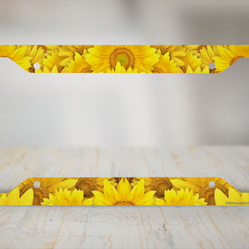 Sunflower License Plate Frame, Sunflower Car Tag Frame, Sunflowers License Plate Holder, Sunflowers Decorative License Plate Frame-30-711