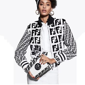 FENDI Women Fashion Fur Zipper Cardigan Jacket Coat
