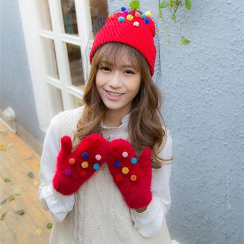 2017 New Design Beautiful Lovely Colorful Mini Balls with Veil Winter Hats Warm Caps with Grenadine and Balls Women Girls Hats