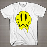 Melting Acid Smiley Face LSD  Mens and Women T-Shirt Available Color Black And White
