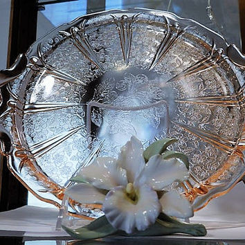 "Cherry Blossom 13"" Platter Depression Glass 1930s Art Deco Cottage Home Decor Country Farmhouse Wedding Shower Mom Cake Plate Serving Tray"