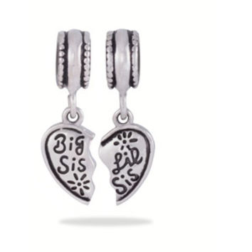 "Walmart: Connections from Hallmark Stainless Steel ""Big Sis/Lil Sis"" Break Away Heart Charms"