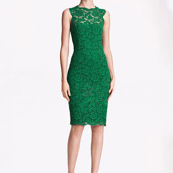 Sleeveless Lace Midi Bodycon Dress