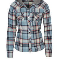 Hooded Plaid Flannel Shirt - Blue Multi