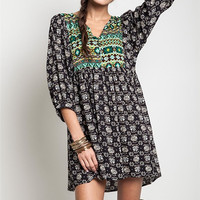 Boho Baby Doll Dress - Black and Green