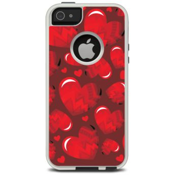 The Glossy Electric Hearts Skin For The iPhone 5-5s Otterbox Commuter Case