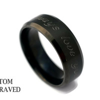 Unisex Engraved Stainless Steel Black Ring - Personalized Steel Ring -Stainless Steel Men Women Custom Ring - Custom Engraved Black Ring
