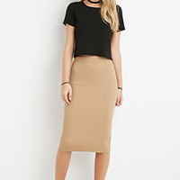 Ribbed Knit Bodycon Skirt