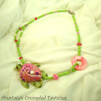 Pink purple green seaturtle necklace, Polymer clay turtle mermaid jewelry, Underwater pendant, Natural freshwater pearl,  agate beads