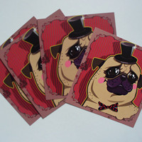 Pug in Bowler Hat Polka Dots Bowtie Cards Set of 4, handdrawn pug art, small note cards, romantic art deco style, cute funny dog print gift