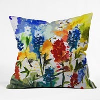 Ginette Fine Art Texas Blue Bonnets Throw Pillow