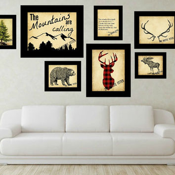 Vintage Woodland Eclectic Art Collection - Nursery Art - Woodland - Forest - Shabby Chic - Deer - Lumberjack - Buffalo Plaid - Rustic Decor