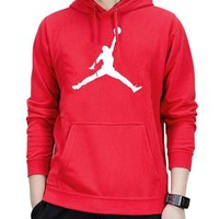 Nike Jordan Fashion Women Man Casual Print Long Sleeve Hoodie Sport Sweater Pullover Top Sweatshirt Red