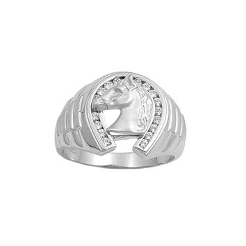 925 Sterling Silver CZ Horse Ring 18MM