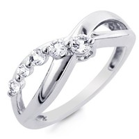 Sterling Silver and White Sapphire Journey Ring - Size 8