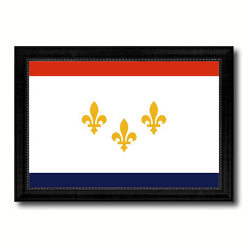 New Orleans  City Louisiana State Flag Canvas Print Black Picture Frame
