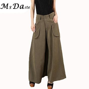 2017 New casual flare plus size wide leg pants bloomers women harem pants high waisted vintage trousers Brown,Black,Army Green