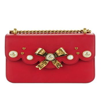 Gucci Red Bow Pearl Leather Chain Shoulder Bag 432281