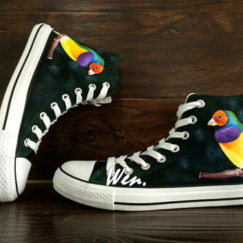 WEN Original Design Nature Birds Converse Hand Painted Shoes,Converse Shoes,Painted Birds Shoes Custom Shoes Custom Converse All Star