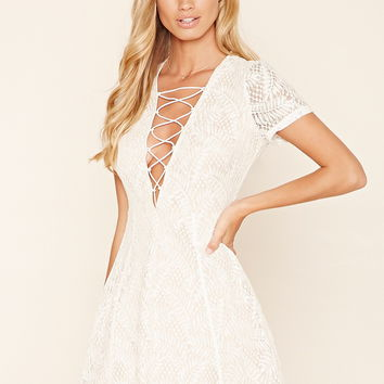 Embroidered Lace Skater Dress