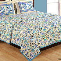 Blue Floral Bedding set with two matching pillow covers/90x108 inches/Bedspread/Bed sheets