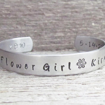 Bracelet Flower Girl Toddler or Child Size NAME WEDDING PARTY Hand Stamped Jewelry Custom Cuff Aluminum Personalized Customize Little Girl