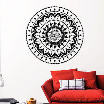 Wall Decal Mandala Yoga Oum Om Decal Boho Design Bedroom Home Decor Vinyl DA3904