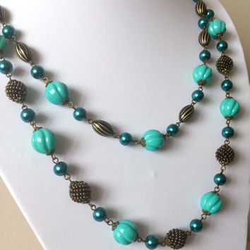 Multistrand  Necklace // Long Double Necklace // Braided Beads // Turquoise // Handwoven beads // Gift for her // Christmas // FREE GIFT