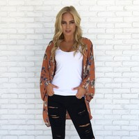 Sunset Floral Kimono in Rust