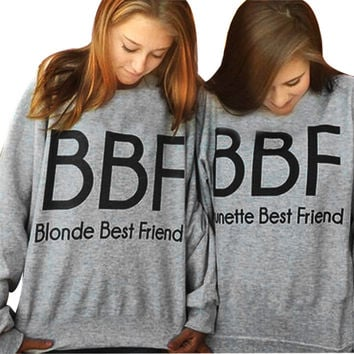 bts 2016 Women Hoodies Brunette Best Friends BFF Blonde Best Friend Print Harajuku Girlfriends Sweatshirt Women Pullovers