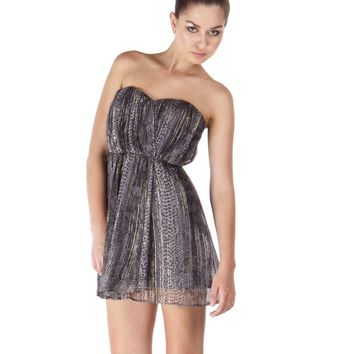 Twelfth Street By Cynthia Vincent Strapless Dress in Lurex Snake