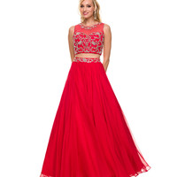 Red Two Piece Illusion Sweetheart Gown 2015 Prom Dresses