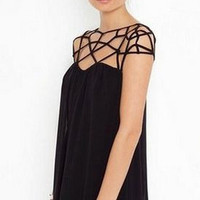 'The Sophie' Black Hollow Cut Out Mini Dress